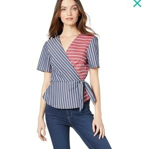 BCBGeneration Wrap Front Short Sleeve Woven Top
